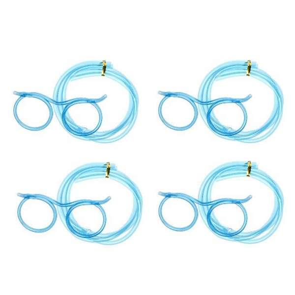 4x Trinkbrille Strohalm Brille Trinkschlauch Mitgebsel JGA Party Feier blau