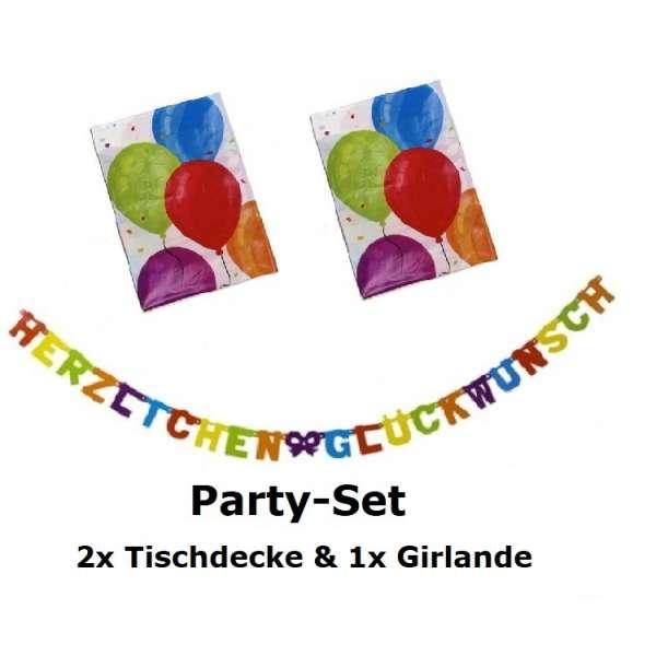 Party Deko Set Tischdecke Girlande Herzlichen Glückwunsch Luftballons mehrfarbig