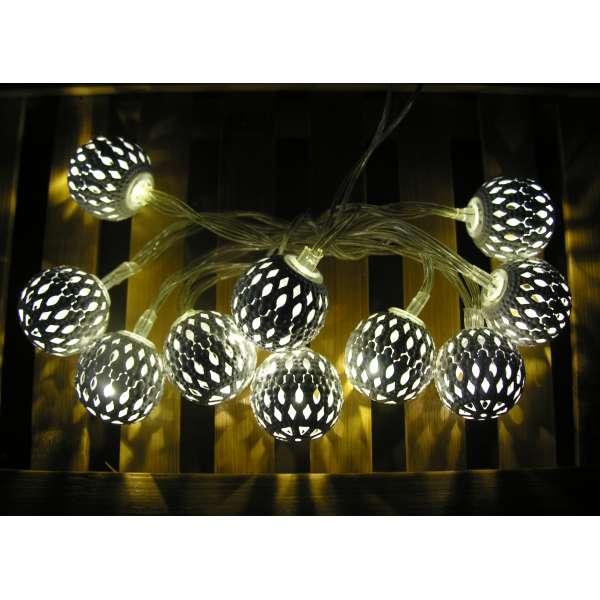 LED Lichterkette 10 Kugeln ORIENT SPIRIT warmweiß weiss Ball Batterie Deko