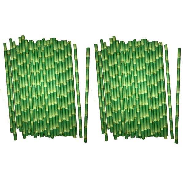 100x Papier Strohhalme Bambus Trinkhalm Party Geburtstag Cocktail Bar Straws grün