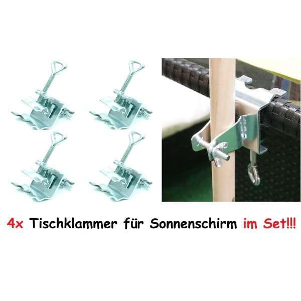 4x Sonnenschirmhalter mit Klammer für Tisch Geländer Balkon Schirmhalter Stahl
