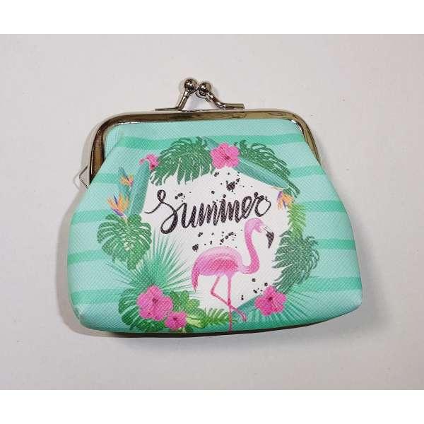 Mini Flamingo Geldbörse Kinder Portmonee Portemonnaie Geldbeutel Clutch grün