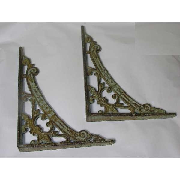 2 Regalträger antik-grün aus Eisen Jugendstil Regalhalter Regal Winkel Regalstützen