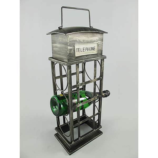 Weinschrank Wein Regal Ständer Halter Telefonzelle 3 Flaschen grau Eisen Metall