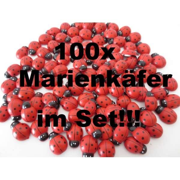 100x Marienkäfer Glücksbringer Deko Streuteile Aufkleber Holz selbstklebend