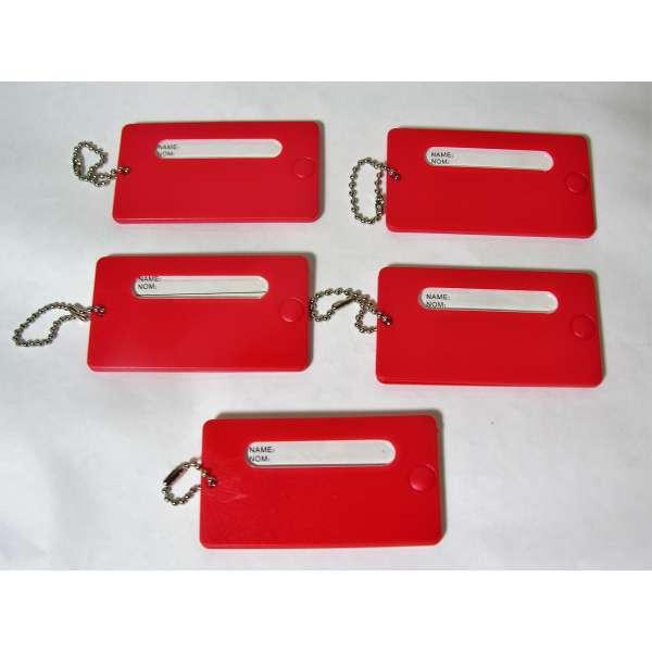 5 feste Kofferanhänger Rot mit Namensschild Kunststoff Gepäck Anhänger