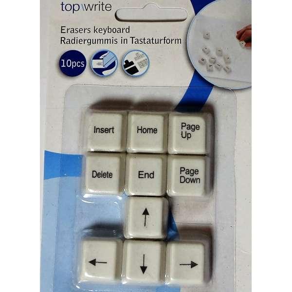 10er Set Radiergummi Computer-Tastatur weiß Radierer Büro Office Radiergummis
