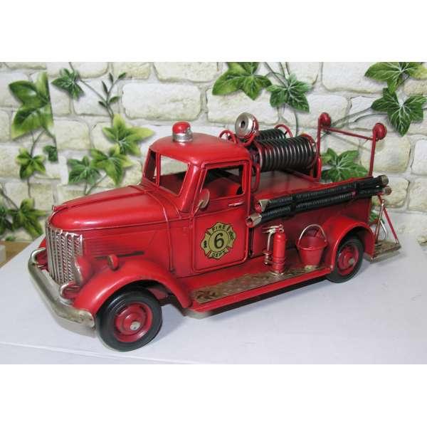Modell Auto Feuerwehr Blech 29cm Oldtimer Feuerwehrauto Deko Fire Dept Retro Stil