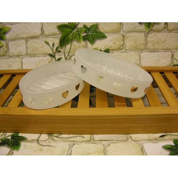 2x Vintage Seifenschale grosse Herzen Seifen-Ablage aus Glas silber/weiss oval