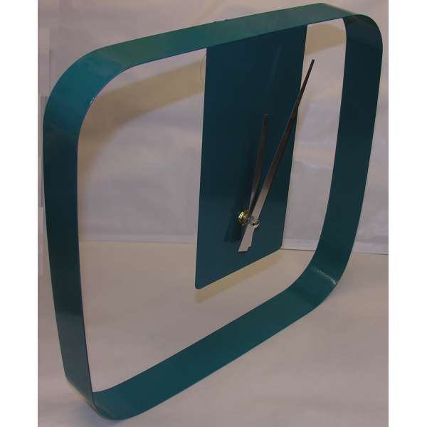 Moderne Design Wanduhr im Retro-Look 31cm Türkis Metall-Rahmen Boltze Gruppe
