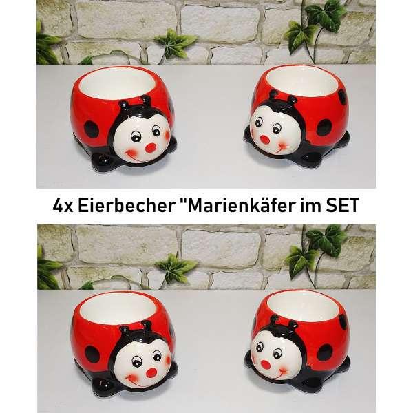 4x Lustige Eierbecher Marienkäfer im Set Tiere aus Keramik rot Geschenkidee