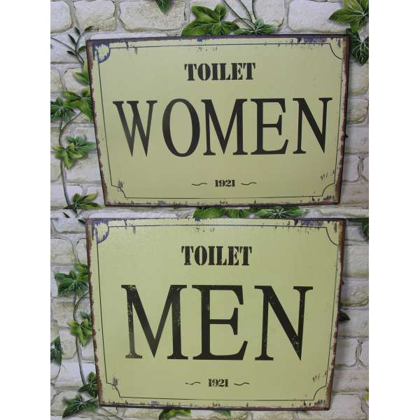 2er Set nostalgisches WC Toiletten Türschild 1921 Women/Men Blech Wand-Schild