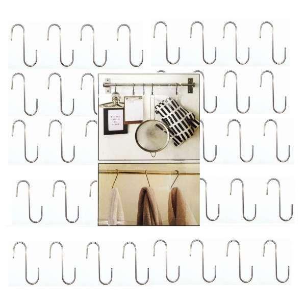 40x S-Haken Metall 6cm Küchenhaken Universalhaken Küchen Halter Hooks Haken silber