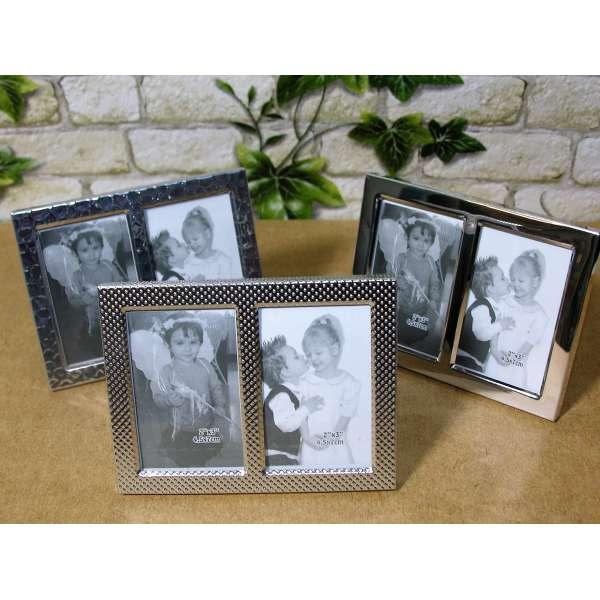 3er Set Mini Bilderrahmen silber Stand-Rahmen Fotorahmen für je 2 Fotos 4,5x7cm