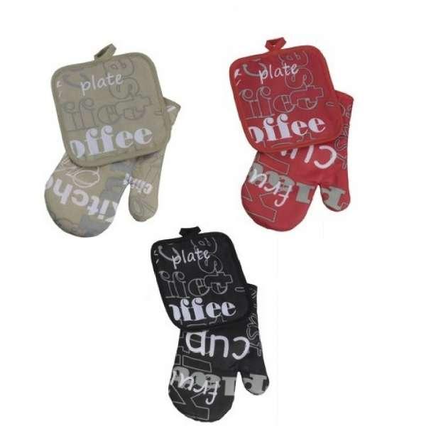 3x Ofenhandschuh und Topflappen 2er Set Kaffee Back-Handschuh Topfhandschuh