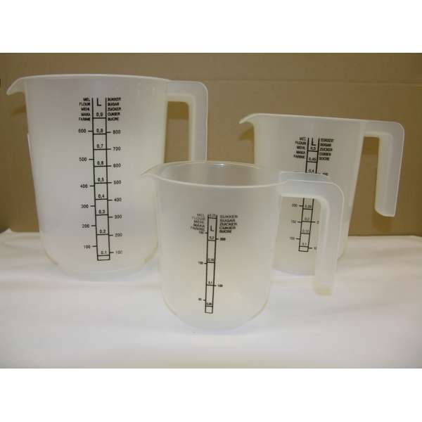 3er Set Messbecher 250,500 und 1000ml Messkanne Maßbecher Kunststoff Mehl Zucker