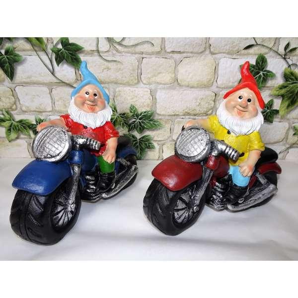 2er Set Gartenzwerge Zwerg auf Motorrad ca. 15x15cm Garten Deko Coole Biker Geschenkidee