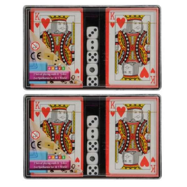 2x 2er Set Kartenspiel (54 Blatt) mit 5 Würfel Spielkarten Skat Spiel Karten Blatt