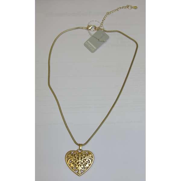 Halskette mit 3D Herz-Anhänger filigran gearbeitet goldfarben 40cm Liebe Love