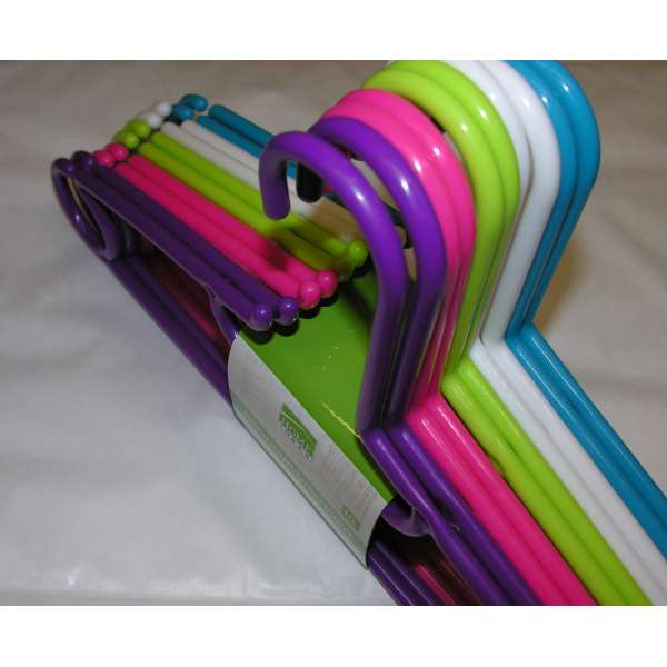 10x Kleiderbügel aus Kunststoff bunt 40cm Bügel Hosenbügel Wäschebügel
