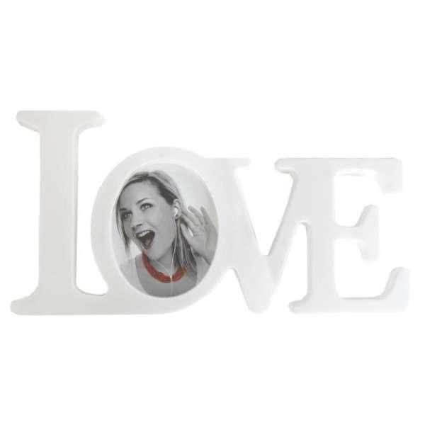 Bilderrahmen LOVE weiss Deko Fotohalter Schriftzug 3D Foto-Aufsteller Rahmen