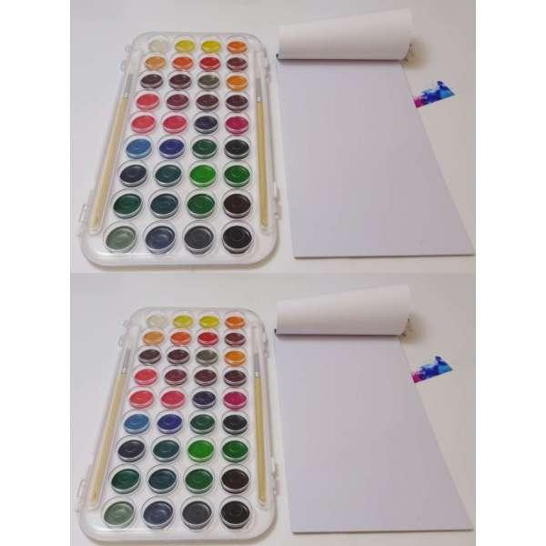 2x 45tlg Malkasten Wasserfarben Pinsel Farbpalette Künstler Farbkasten Malset Malen