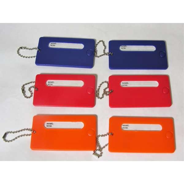6 feste Kofferanhänger bunt mit Namensschild Kunststoff Gepäck Anhänger