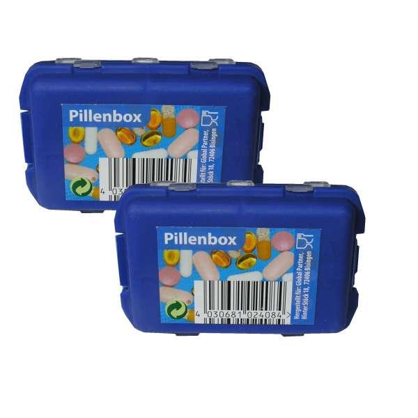 2x kleine TABLETTENDOSE PILLENDOSE PillenTabletten Medikamenten Box Pocket