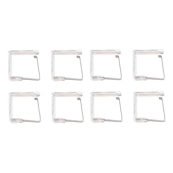 8x Tischtuchklammer transparent mit Metallspange Tischdecken Klammern Tischtuchhalter Halter