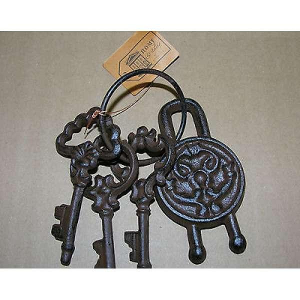 Schlüsselbund 3 Schlüssel mit Schloss Guss Eisen Antik Deko Nostalgie Landhaus