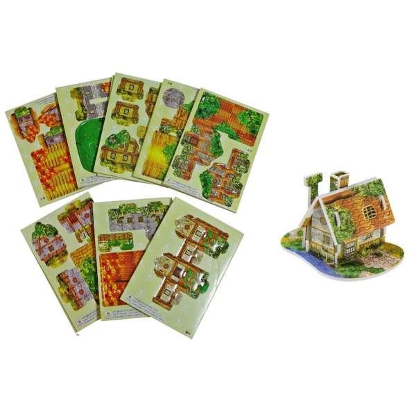 8x 3D Puzzles Haus Bausatz Modell Puzzlespiel Mitgebsel Kinder Party Geburtstag