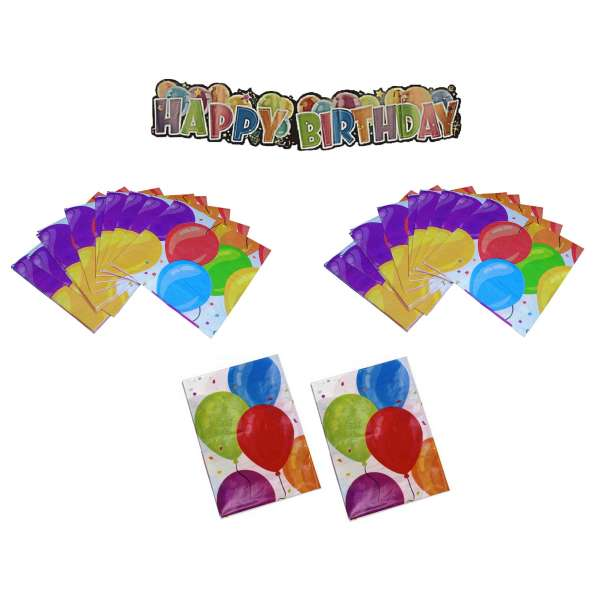 Geburtstag Deko Set Tischdecke Girlande Banner Servietten Kinder Party bunt