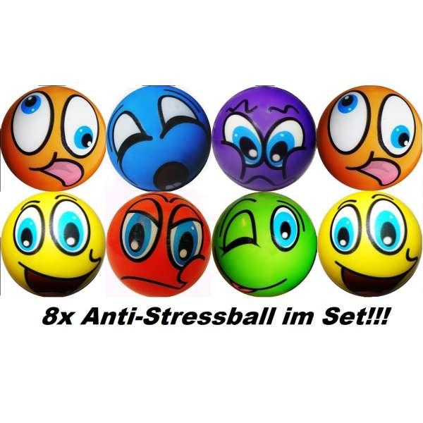 8er Set Anti Stressbälle Smiley Wurf Stress Knet Jonglierball Schaumstoff Ball