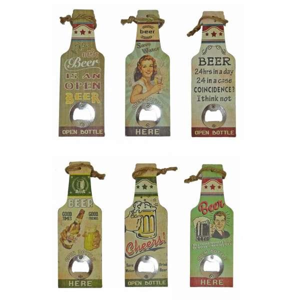 6x Bieröffner Flaschenöffner Kapselheber in Flaschen Form Öffner 6 Designs Retro