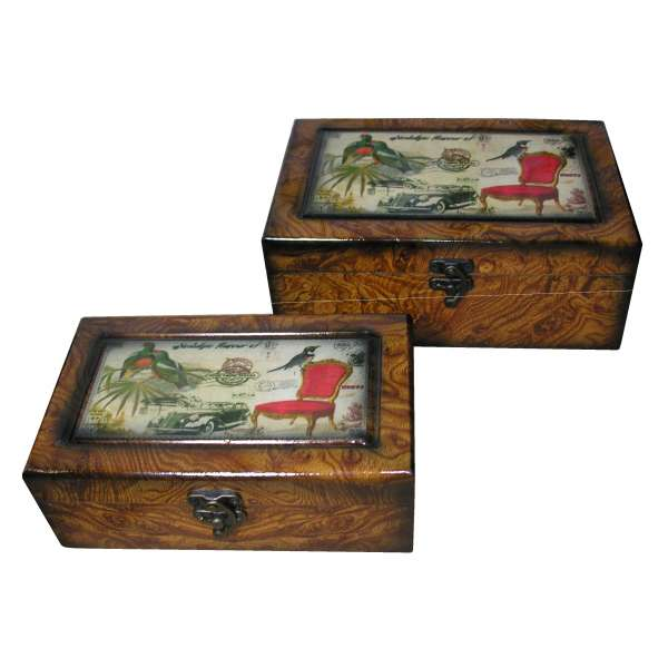 Nostalgische Schmuckschatullen-Set Holz Schmuckkasten Schatulle Vögel Oldtimer
