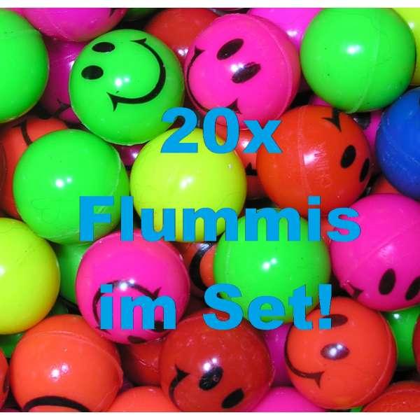 20x bunte Flummis Smiley Gummiball Hüpfball Springball Flummi Tombola Mitgebsel