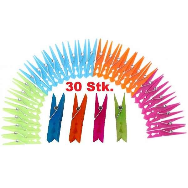 30 Stück farbige Wäscheklammern Kunststoff 70mm Wäsche Klammer mit Stahl-Feder