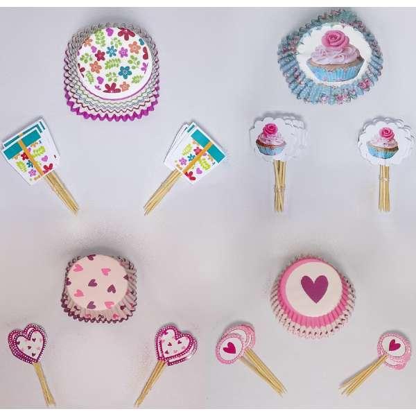 24er Set Cupcakeform mit Schild Muffinförmchen Muffin Backform Papier Herz Blume