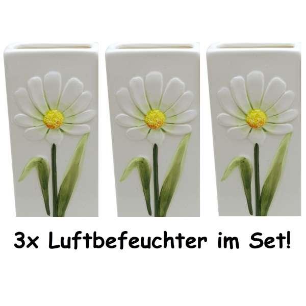 3x Wasserverdunster Luftbefeuchter Keramik weiss Blume eckig Verdunster Heizung