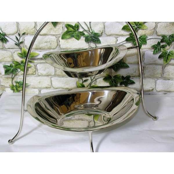 Exclusive Etagere mit 2 Gebäck-Schalen aus Aluminium silber Tisch Deko Obstschale
