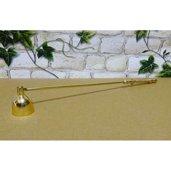 Kerzenlöscher mit beweglicher Glocke Messing ca 28,5cm Dochtlöscher Metall gold-farben