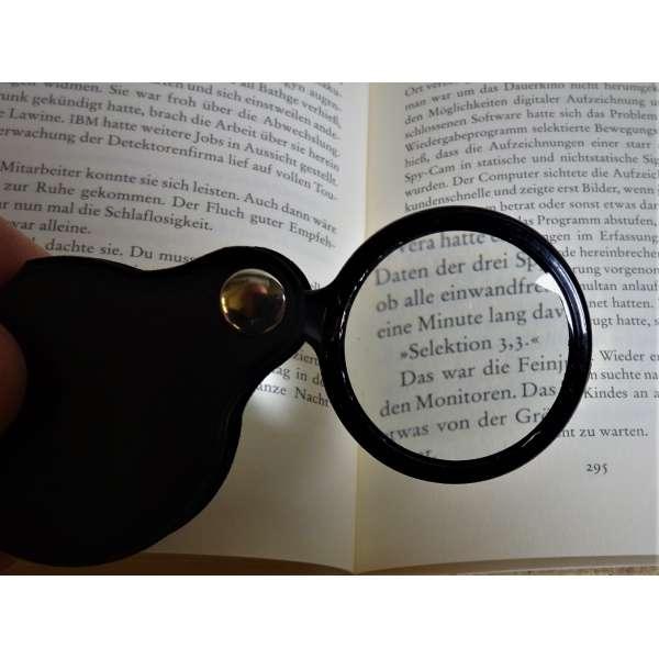 Einschlaglupe 5-fach Vergroeßerung faltbare Lupe Taschenlupe Linse Leseglas Lesehilfe