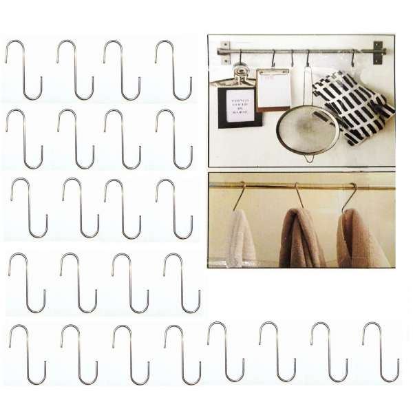 24x S-Haken Metall 6cm Küchenhaken Universalhaken Küchen Halter Hooks Haken silber