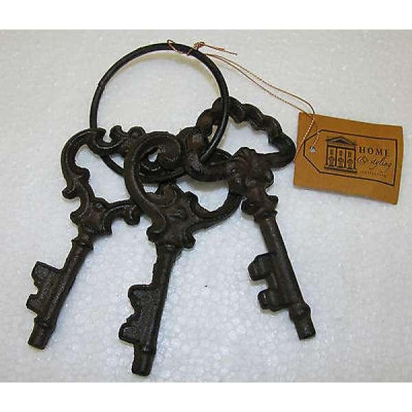 Schlüsselbund 3 Schlüssel aus Eisen Antik Optik Deko Nostalgie Landhaus