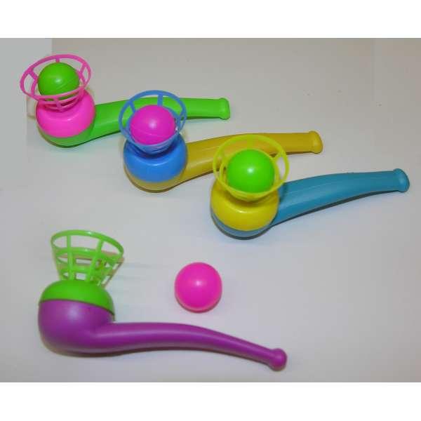 4x Kinder Pustespiel Blasspiel Pfeife Schwebender Ball Mitgebsel Tombola Party