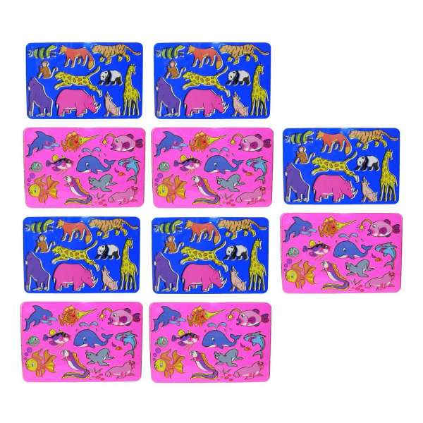 10x Kinder Zeichenschablone Unterwasserwelt und Safari Malschablone Stencil Tiere