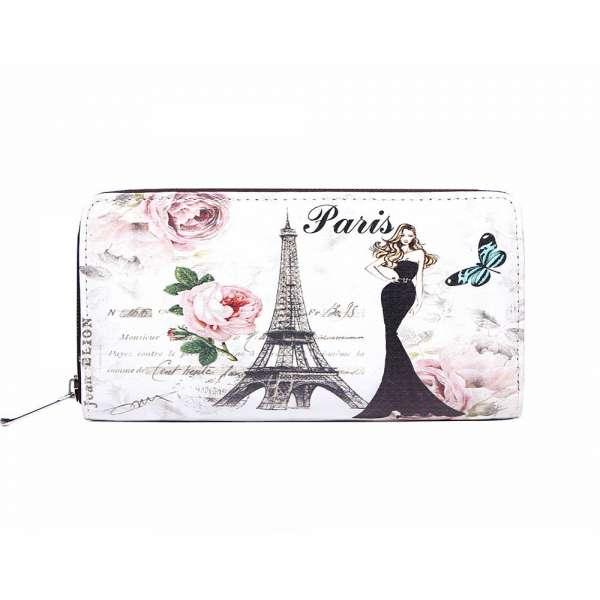 Damen Geldbörse XL Paris Rose Portmonee Geldbeutel Langbörse Brieftasche