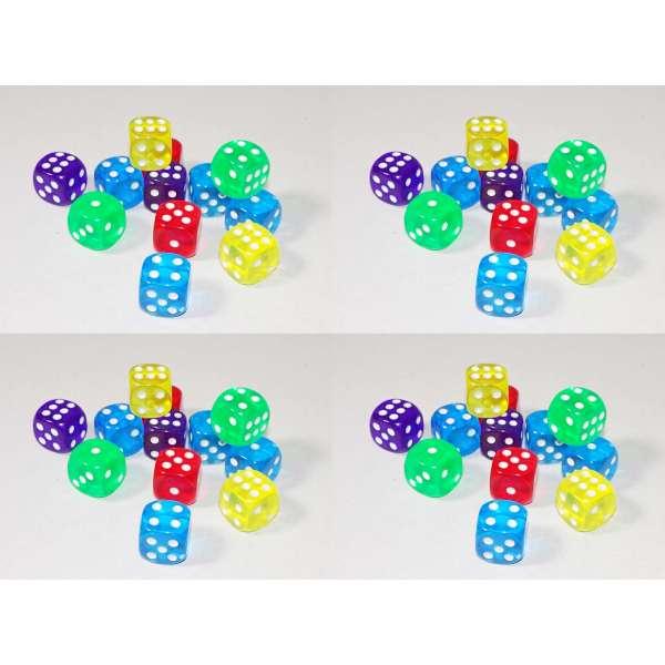 48x Würfel Spielwürfel Spiel Spielezubehör Knobeln Augen Cube transparent bunt
