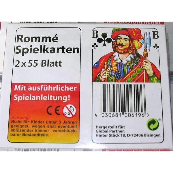 ROMME Spielkarten 2x 55 Blatt Spiel Karten französisches Blatt mit Spielanleitung