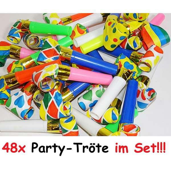 48x Tröte Luftrüssel Pfeife Kinder Mitgebsel Tombola Party Geburtstag Karneval